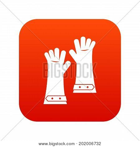 Heat resistant gloves for welding icon digital red for any design isolated on white vector illustration