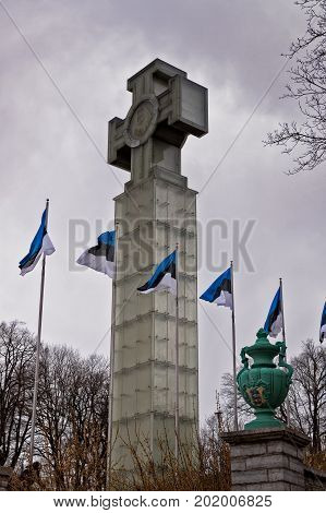 A giant cross on the Freedom Square at Tallinn Estonia. This is the Monument to the War of Independence commemorating the war in 1918 - 1920.