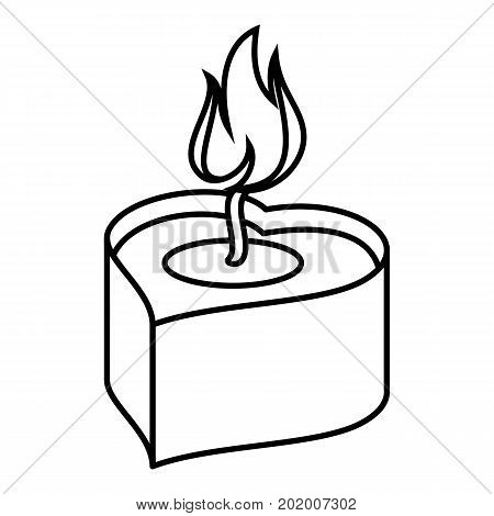 Heart candle icon. Outline illustration of heart candle vector icon for web