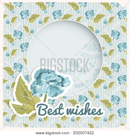 Vintage congratulatory card with blue flower leaves round frame for text on flowery seamless pattern vector illustration