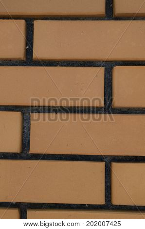 Flat Pale Orange Brick Wall Surface From The Side