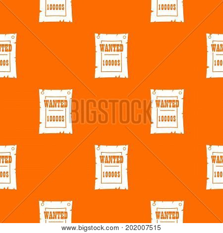 Vintage wanted poster pattern repeat seamless in orange color for any design. Vector geometric illustration