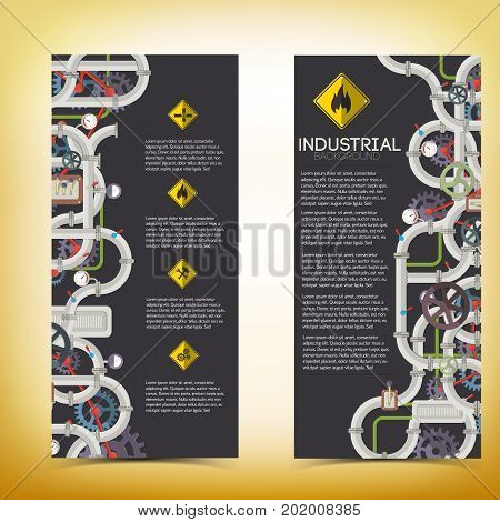 Industrial manufacturing vertical banners with text pipeline valves and gas pipe tools gears icons isolated vector illustration