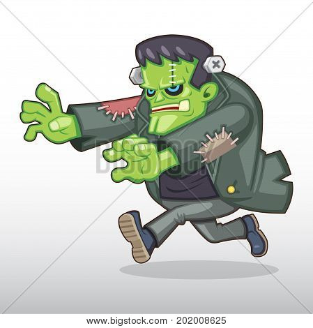 Huge Scary Halloween monster chasing someone illustration