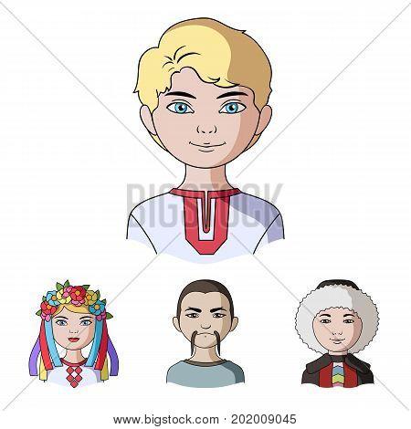 Chinese, ukrainian, russian, eskimo. Human race set collection icons in cartoon style vector symbol stock illustration .