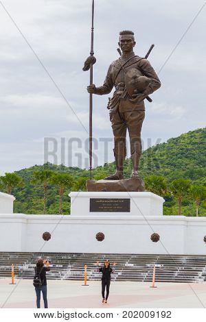PRACHUAP KHIRI KHAN THAILAND - AUGUST 26 : unidentified people visit Rajabhakti Park with King Raresuan Monument on August 26 2017 in Prachuap Khiri Khan Thailand