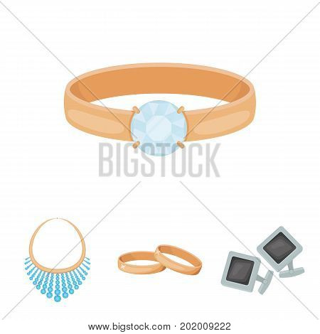 Wedding rings, cuff links, diamond necklace, women's ring with a stone. Jewelery and accessories set collection icons in cartoon style vector symbol stock illustration web.