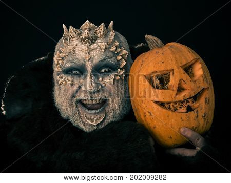 Monster With Dragon Skin On Scary Face