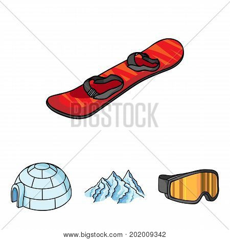 Mountains, goggles, an igloo, a snowboard. Ski resort set collection icons in cartoon style vector symbol stock illustration .