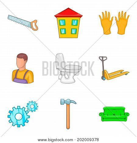 Apartment renovation icons set. Cartoon set of 9 apartment renovation vector icons for web isolated on white background