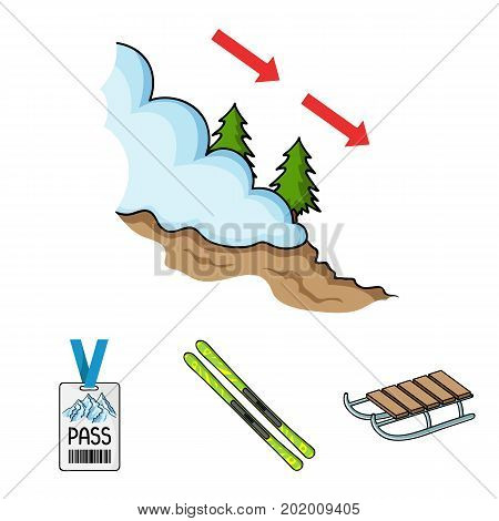 Ski, sled, lifeguard badge, badge avalanche. Ski resort set collection icons in cartoon style vector symbol stock illustration .