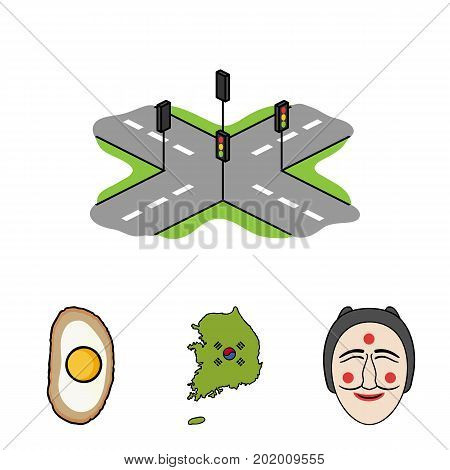 A map of the state with a flag, a Korean mask, a national egg meal, a crossroads with traffic lights. South Korea set collection icons in cartoon style vector symbol stock illustration .
