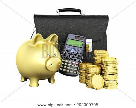 Business Statistics Calculator Money Piggy Bank 3D Rendering On White Background No Shadow