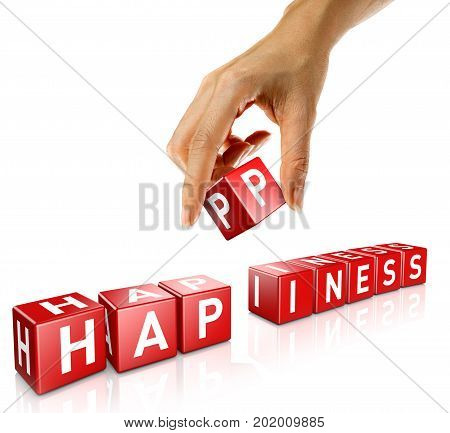A woman's hand places a cube to form the word Happiness. Isolated on a white background