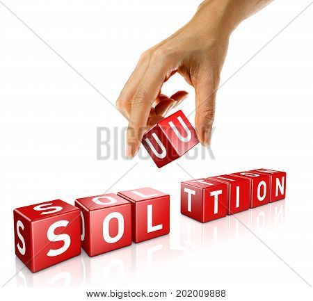 A woman's hand places a cube to form the word solution. Isolated on a white background