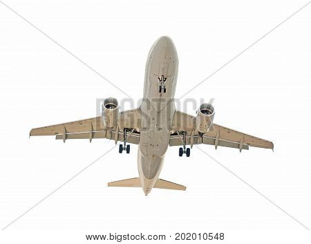 Flying airplane from below isolated on white background