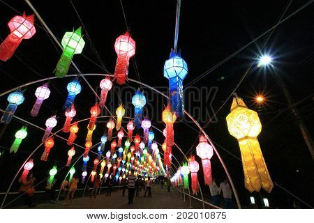 Thai style handmade paper lantern tunnel festival in northern of thailand in buddhist culture one of unseen festival in thailand