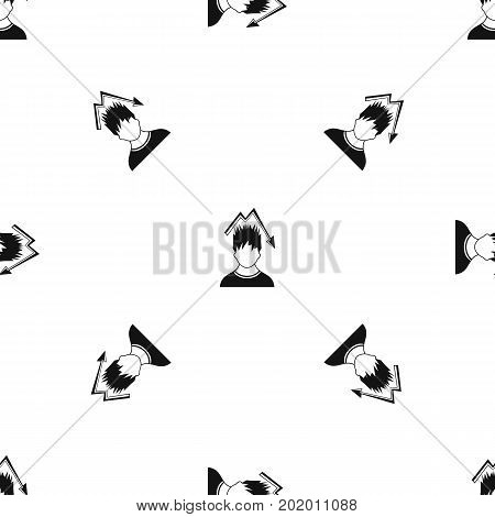 Man with falling red graph over head pattern repeat seamless in black color for any design. Vector geometric illustration