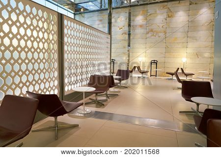 DOHA, QATAR - CIRCA JUNE, 2017: inside a lounge at Hamad International Airport of Doha, the capital city of Qatar.