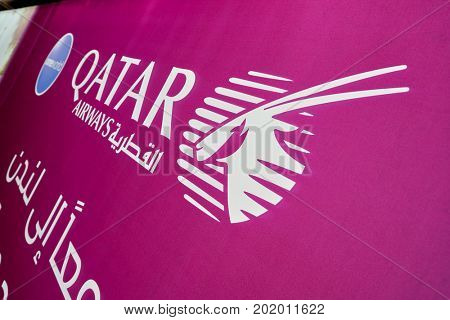 DOHA, QATAR - CIRCA MAY, 2017: close up shot of Qatar Airways sign at Hamad International Airport of Doha, the capital city of Qatar.