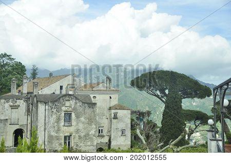 Mountain village Ravello morning fog, Italin vacations