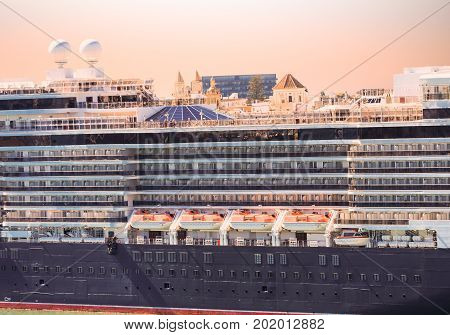 Lifeboats and Decks on Classic Old Cruise Ship in Cadiz