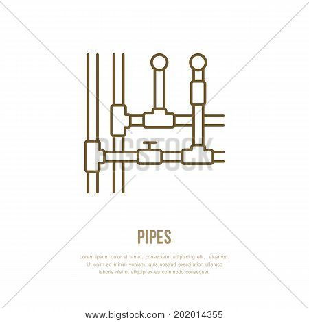 Pipes installation routing flat line icon. Outline sign of pipe, valve. Vector illustration for house equipment store or plumbing service.
