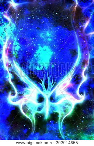 butterfly in cosmic space and winter effect Color cosmic abstract background