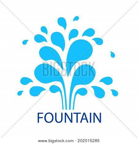 Vector icon fountain. Logo design template fountain and drop. Blue fountain isolated on white background. Abstract original simple illustration for print, web.