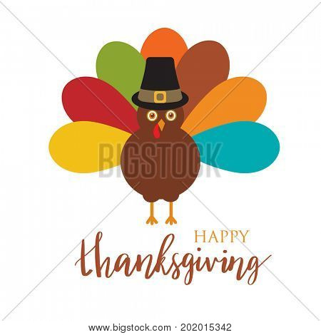 Cute cartoon greeting card with turkey bird in pilgrim hat for Happy Thanksgiving Day celebration, can be use as flyer, poster or banner.