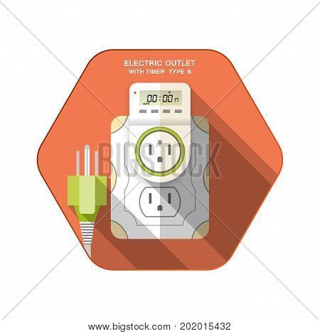 Vector isolated icon of white electric socket type B with digital timer and LCD insert in outlet on the red hexagon background with shadow for use in USA and Canada.
