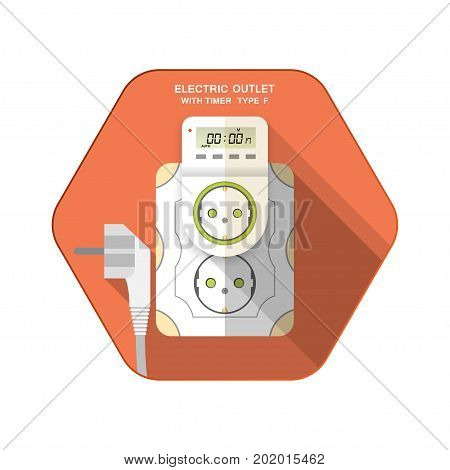 Vector isolated icon of white electric socket type F with digital timer and LCD insert in outlet on the red hexagon background with shadow for use in Europe.