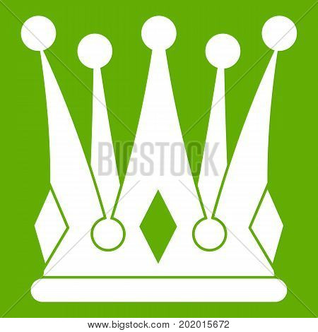 Kingly crown icon white isolated on green background. Vector illustration