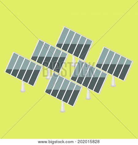 Solar power plant colorful minimalistic isometric style vector illustration