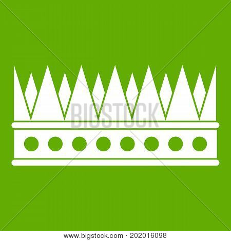 Regal crown icon white isolated on green background. Vector illustration