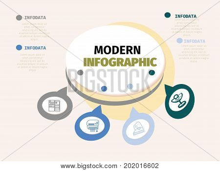 Vector infographics design template , integrated circles background. Digital network, flowchart, process diagram