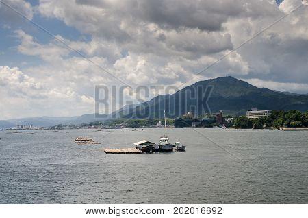 Oyster rafts in Hiroshima Bay. Miyajima. Japan