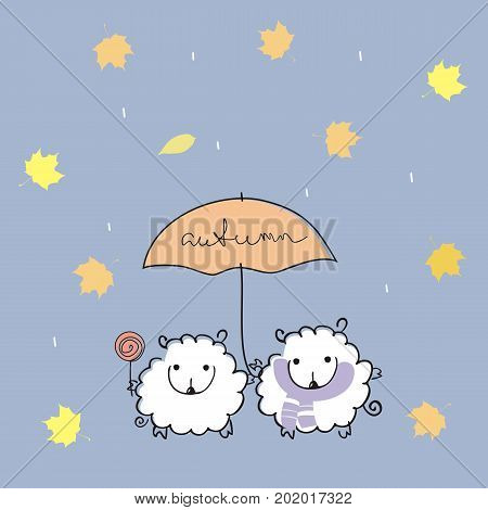 Two cute sheep under an umbrella with a handwritten inscription