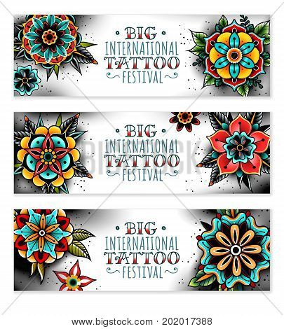 Old school tattoo art flowers horizontal banners. Old school tattoo flowers. Vector illustration