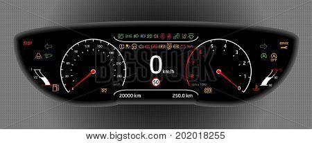 Illustration of a Digital Car Dashboard Isolated