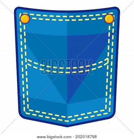Blue pocket icon. Flat illustration of blue pocket vector icon for web