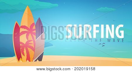 Surfing Banner And Poster. Surfboards On A Beach. Surf And Summer Design.