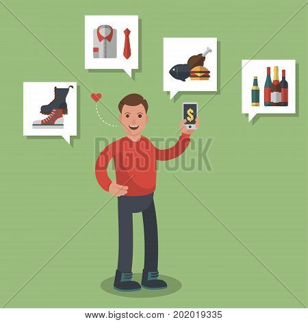 Man in red shirt shopping on-line different goods like groceries, shoes and meats. Colored flat-style illustration on green background. ESP10