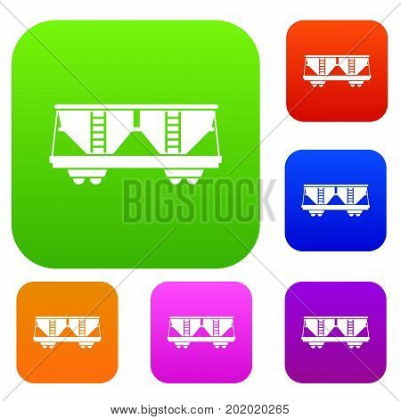 Freight railroad car set icon in different colors isolated vector illustration. Premium collection
