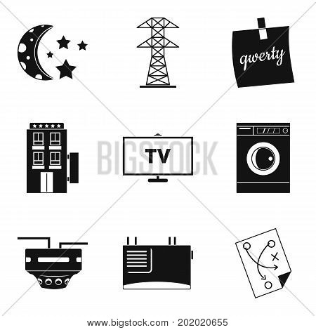 Electrical network icons set. Simple set of 9 electrical network vector icons for web isolated on white background