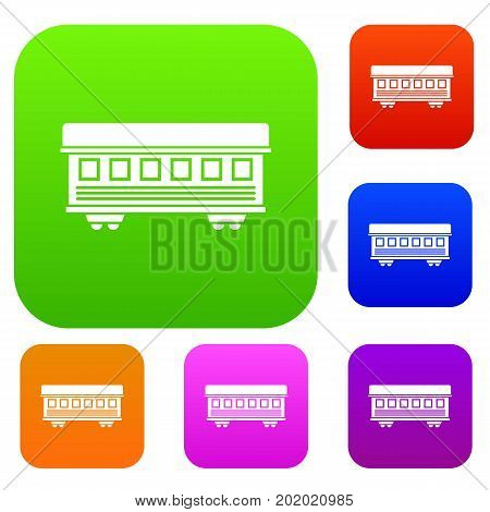 Passenger train car set icon in different colors isolated vector illustration. Premium collection