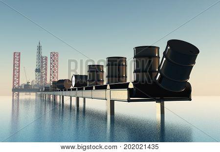 Barrels of oil on the conveyor. 3d render