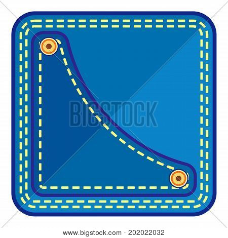 Left jeans pocket icon. Flat illustration of left jeans pocket vector icon for web