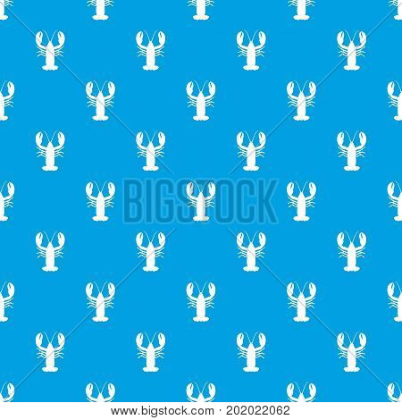Crayfish pattern repeat seamless in blue color for any design. Vector geometric illustration