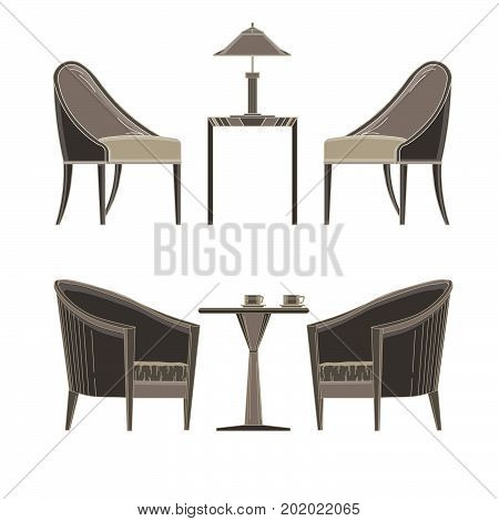 Dining table two restaurant and chairs. Flat style vector illustration icon isolated tablecloth cafe